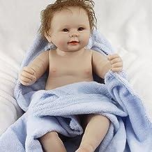 Yesteria 50 cm Bebes Reborn Silicona Cuerpo Completo Recién Nacidos Chico Desnudo con Manta Azul