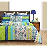 Swayam Eco Sparkle Ethnic 140 TC Cotton Single Bedsheet With Pillow Cover - Blue