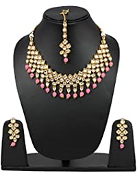 Andaaz Designer Party Wear Pink Beads Kundan Necklace Set With Mang Tikka And Earrings For Women And Girls