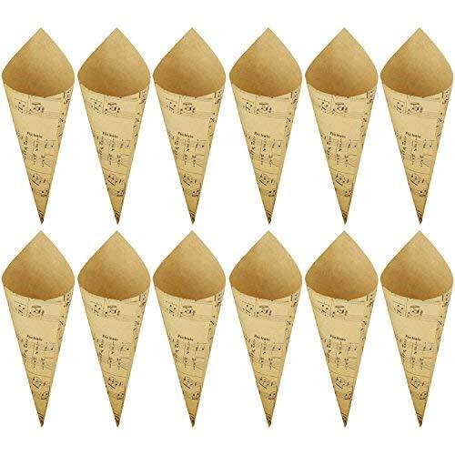 Interestmaker 50pz matrimonio coriandoli coni, coni di carta kraft retro bouquet candy cioccolato scatole regalo per confetti, scatole, marrone musical notes