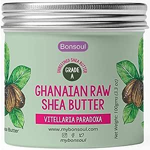 BONSOUL Grade A Ghanaian Organic Ivory Shea Butter   Raw, Unrefined   African  Dry Skin, Hands, Body Moisturizer   (100 GMS-Glass Jar)