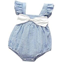 Vestidos Bebé,Switchali Niñito Infantil Recién nacido Bebé Niña Verano Cabestro rayas Mono algodón Floral jumpsuit chicas Bowknot Ropa Niñas moda linda Romper 0~24 meses barato (70, Azul)