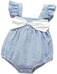 Vestidos Bebé,Switchali Niñito Infantil Recién nacido Bebé Niña Verano Cabestro rayas Mono algodón Floral jumpsuit chicas Bowknot Ropa Niñas moda linda Romper 0~24 meses barato