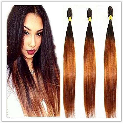 XQXHair Top 8A Ombre braizilian cabello recto dos tonos 1B / 27 cabello humano tejido de color brasileño de la Virgen Ombre pelo tejidos paquetes , 12 14 16