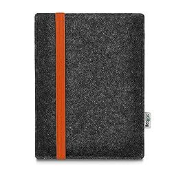 stilbag e-Reader Tasche Leon für Amazon Kindle Oasis (9. Generation) BZW. den neuen Kindle Oasis (10. Generation - 2019), Wollfilz anthrazit - Gummiband orange