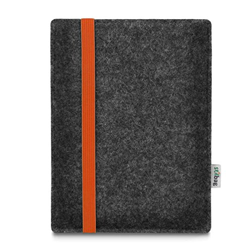 stilbag e-Reader Tasche Leon für Amazon Kindle Paperwhite 7. Generation / 10. Generation (2018), Wollfilz anthrazit - Gummiband orange