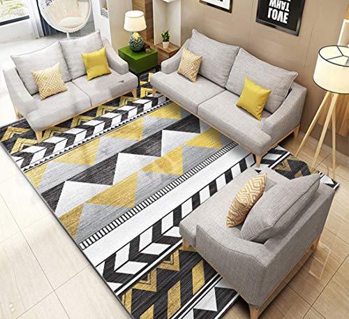 Rechteck Plüsch (Thole Teppich Kurzflor Modern 0.7cm Wohnzimmer Schlafzimmer Waschbar Rutschfester Boden Kristallkurzer Plüsch Rechteck Kinder krabbeldecke,Yellow,120X160CM)