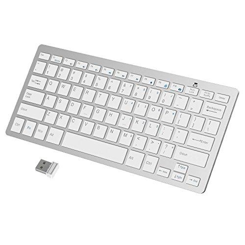 JETech Ultra-Delgado Teclado Inalámbrico Teclado Portatil / PC para Windows (Blanco) - 2161