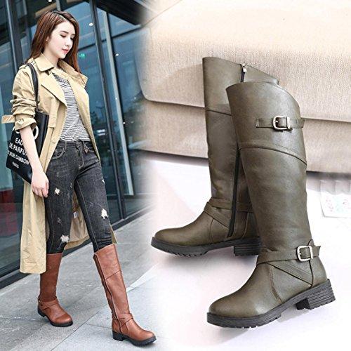 Beauty Top Stivali Donna Invernali, BeautyTop Autunno Faux tacco Fibbia Cavaliere Stivaletti Boots Scarpe piane Martin Verde