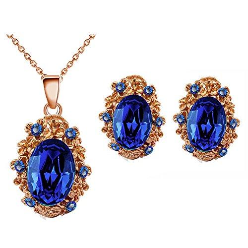 Vintage Stil Saphir Royal Blau antik gold Ohrstecker und Halskette Set S890 (Blauen Saphir-gold-halskette)