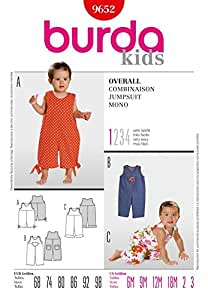 Burda Toddlers Easy Sewing Pattern 9652 - Dungarees Jumpsuit Ages: 6m-3 by Burda