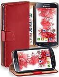 moex Samsung Galaxy S4 Mini   Hülle Rot mit Karten-Fach 360° Book Klapp-Hülle Handytasche Kunst-Leder Handyhülle für Samsung