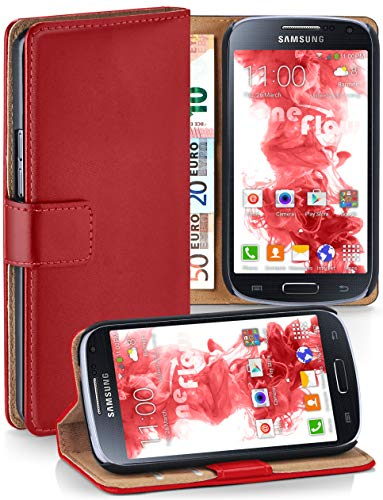 moex® Booklet mit Flip Funktion [360 Grad Voll-Schutz] für Samsung Galaxy S4 Mini   Geldfach und Kartenfach + Stand-Funktion und Magnet-Verschluss, Rot