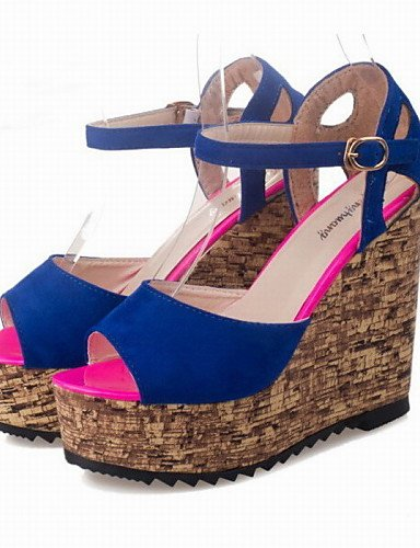 UWSZZ IL Sandali eleganti comfort Scarpe Donna-Sandali-Ufficio e lavoro / Formale / Casual-Spuntate / Plateau / Creepers-Plateau-Finta pelle-Nero / Blu / Rosa Blue