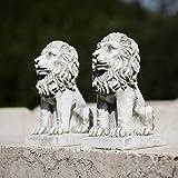 Homezone 2 Piece Effet Pierre Résine Assis Lions Animal Jardin Ornements Fabriquéà la Main Sculptures Gazon Statues Antique Décor Faune Sculptures
