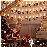 Luminos LED Fotolichterkette | 40 Clips zum Aufhängen von Fotos, Notizen, Zeichnungen, Bildern | Garland 5M Perfekt für Innen - Oder Außendekoration, Zuhause | Warmes Licht, Gemütlich, Romantisch und Kreativ