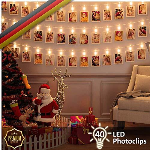 Luminos LED Fotolichterkette | 40 Clips Zum Aufhängen Von Fotos, Notizen,  Zeichnungen, Bildern | Garland 5M Perfekt Für Innen   Oder Außendekoration,  ...