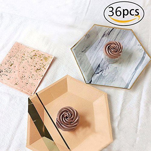 RSPrime Party Disposable Tableware Birthday Party Camping Gilding Decoration Supplies Pink Bronzing Gold Plastic Cutlery Set Festive Decoration of the Table Tableware Dinner Paper Napkin Marble Plate