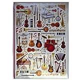 Carnet de notes A4 - Instruments de musique Conception - 60 feuilles = 120 pages - Ligné et ruban de soie - Taille - 297mm x 210mm