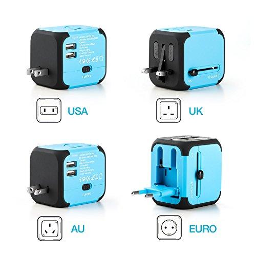 Adaptador de Viaje Todo-en-Uno Cargadores de Viaje Mundiales Adaptadores para EU UK AU EU con Doble Puertos de Carga USB Universal Enchufe de CA Fusible de Seguridad(azul)