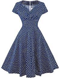 Robe Femme Elégante Style Audrey Hepburn Vintage année 1950s Impression  pour Cocktail Bal Courte Swing avec c697e9195213