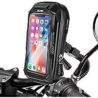 BTNEEU Soporte Móvil Moto Impermeable Soporte Telefono Motocicleta Retrovisor Universal, 360 Rotación Soporte Movil Scooter con Cubierta de Lluvia para iPhone Telefono y GPS hasta 6,5''