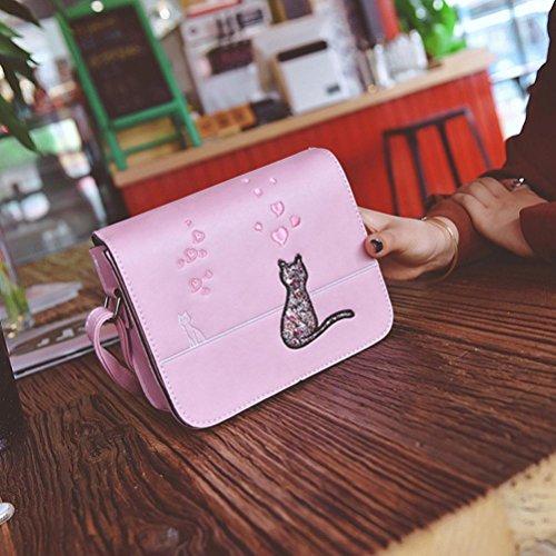 Tefamore Moda Borsa Messenger Donna Sacchetti Di Borsa Da Stampa Di Gatto Borse A Tracolla Rosa