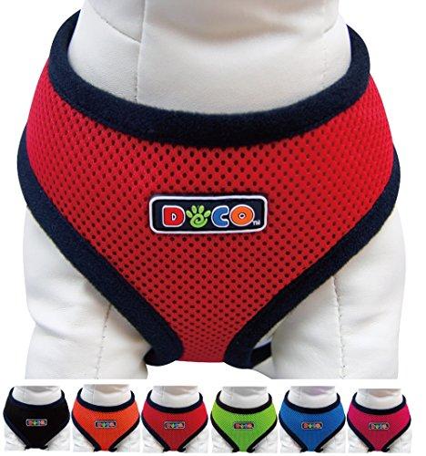 DDOXX Hunde-Softgeschirr aus Air Mesh | verschiedene Farben & Groessen | fuer große & kleine Hunde | Brust-Geschirr | Rot, Größe C | [Leine & Halsband separat erhältlich]
