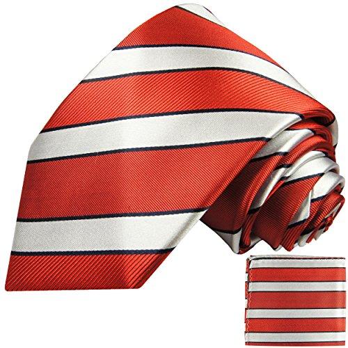 Rouge argent rayé ensemble de cravate 2 Pièces ( 100% Soie Cravate + Mouchoir )