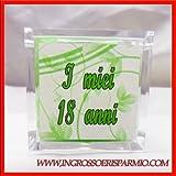 Scatole in plexiglass portaconfetti con immagine sfondo verde e scritta 'I miei 18 anni' su di un lato - Bomboniera compleanno, segnaposto (kit 24 pz)