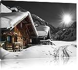 wunderschöne verschneite Alpenhütten schwarz/weiß Format: 100x70 auf Leinwand, XXL riesige Bilder fertig gerahmt mit Keilrahmen, Kunstdruck auf Wandbild mit Rahmen, günstiger als Gemälde oder Ölbild, kein Poster oder Plakat