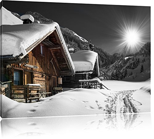 wunderschöne verschneite Alpenhütten schwarz/weiß Format: 100x70 auf Leinwand, XXL riesige Bilder...