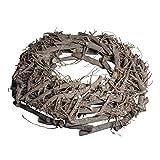 Rayher Hobby 65019000 Weidenkranz, weiß gewischt, 40 cm ø, Höhe 8 cm, Adventskranz, Türkranz, Naturkranz, Weidenring, Kranz aus Weide
