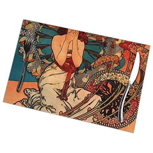 Table Mats Set of 6 Esstisch-Platzsets Washable Placemats Heat Resistant 45x30cm for Kitchen and Dining Room Alphonse Mucha Monaco Monte Carlo Green Square Dinner Plate
