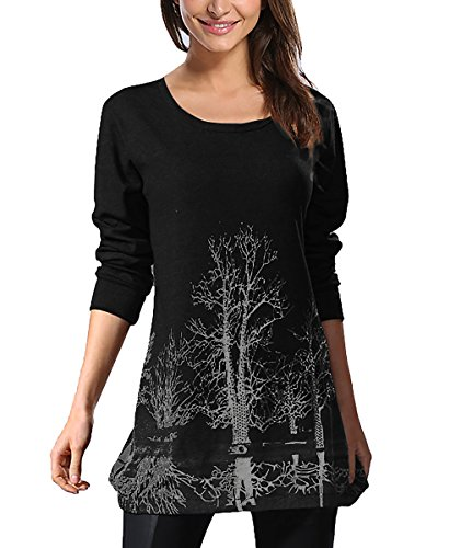 DJT Tee-Shirt longue Blouse Pull-over Sweatshirt Imprime Veste Femme #1-Noir