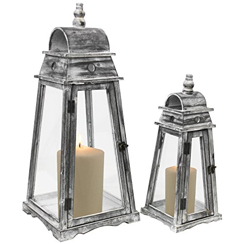 Multistore 2002 2tlg. Laternen-Set England H45/64cm Grau Shabby-Look Laterne Gartenlaterne Kerzenhalter Gartenbeleuchtung Windlicht