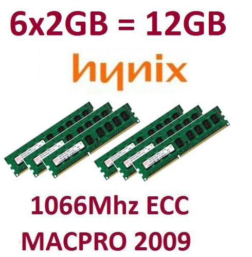 HYNIX original 6 x 2GB = 12GB Kit 240 pin ECC DDR3-1066 PC3-8500E CL7 128Mx8x18 double side (HMT125U7BFR8C-G7) für MacPro Nehalem Systeme 4,1 (Baujahr 2009) Modelle