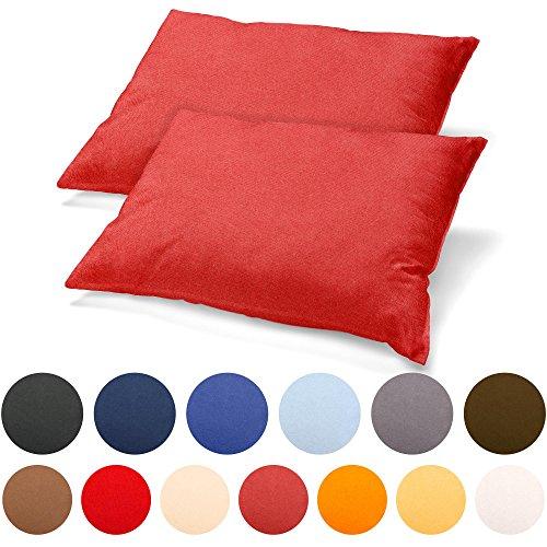 2er Set Kissenbezug 40x80 Jersey Qualität Kissenhülle mit Reißverschluss 100% Mako-Baumwolle, Classic Line aqua-textil 0011460 kirsch-rot (Baumwolle Classic Rot)