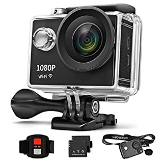 AnGeer Action Kamera 4K Wifi Sports Kamera 170 ° 2 Zoll Wasserdichte 30m Unterwasser DV Kamera (mit 1 Modische Streifen Fall und 1 Backup Batterie)