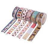 Souarts Washi Tape Masking Tape DIY Dekoband Klebeband Weihnachten Stil Schneemann Geschenkbox Muster 6er Set
