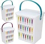 Wäscheklammerbox Wäscheklammer Klammern Box Aufbewahrungsbox 5 Liter Farblich sortiert