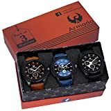 #3: Armado Combo pack of 3 Analogue Blue, Black Dial Mens Watch-Ar-621251
