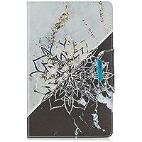 MUTOUREN Funda Samsung Galaxy Tab T387 Tapa Trasera Función de Soporte de Protección Carcasa Plegable Resistente a Arañazos y Caídas Ultra Fino Protectora de Cuero PU Flores