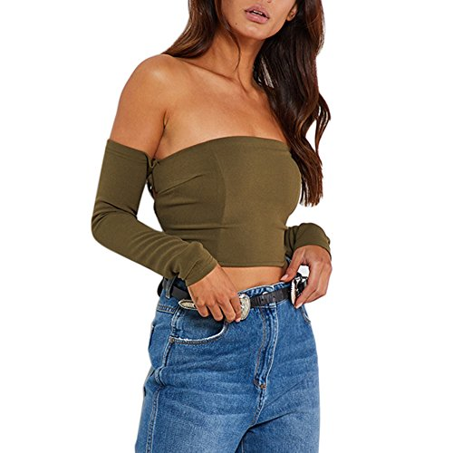 ESHOO Femme Top sexy Mini T-Shirt Court à Manches Longues Slim en Épaule Nue Vert
