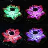 Dengzhu - Lampade LED galleggianti a forma di fiore di loto, a energia solare, per illuminazione notturna di piscine e laghetti