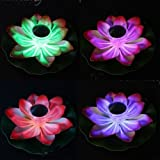 Solar Power LED Lotus Light Flower Lamp Floating Pond Garden Pool Nightlight