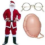 Costume da Babbo Natale per adulti vestito COMPLETO di giacca, pantaloni, cintura, barba e baffi e cappello (Costume + Pancia + Occhiali)