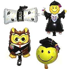 Idea Regalo - Palloni della lama della laurea Doctor/Muchacho/diploma/forma sorridente della cara Hincha 16inch 4pcs per la cerimonia di laurea del partido