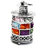 Aapno Rajasthan Rustic Silver Tone Metal Tea Light Holder With Color Stones