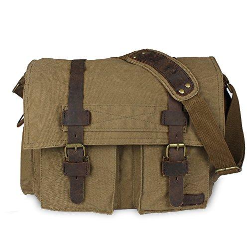 db5fc5526f KIPTOP Moda bolso Lona+Cuero Mensajero Bolsa para Hombre con Estilo Retro  de Instituto (